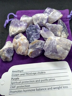 AMETHYST CHEVRON NATURAL RAW PIECES  SMALL X2