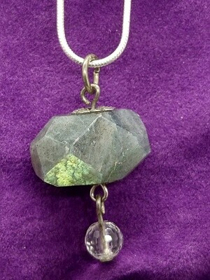 LABRADORITE AND CLEAR QUARTZ DROPLET PENDANT WITH STERLING SILVER CHAIN