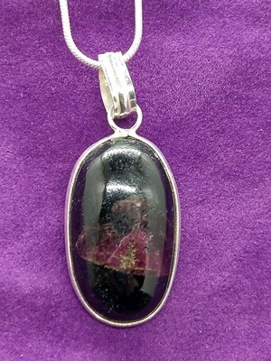 EUDIALYTE  RARE PENDANT WITH STERLING SILVER CHAIN
