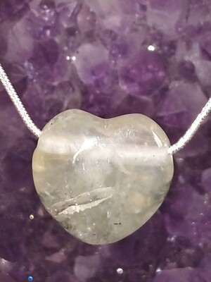 PREHNITE CHUNKY HEART LARGE WITH STERLING SILVER CHAIN