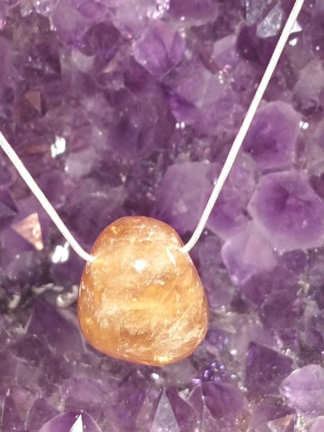 HONEY CALCITE LARGE TUMBLESTONE PENDANT WITH STERLING SILVER CHAIN