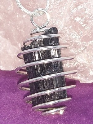 BLACK TOURMALINE RAW IN CAGED PENDANT WITH STERLING SILVER CHAIN