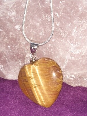 TIGER EYE HEART SMALL PENDANT WITH STERLING SILVER CHAIN