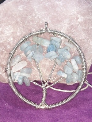 AQUAMARINE TREE OF LIFE PENDANT WITH SILVER CHAIN