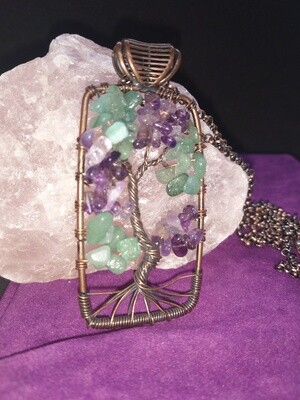 AMETHYST AND GREEN AVENTURINE TREE OF LIFE WITH LONG CHAIN