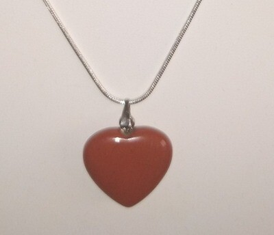 RED JASPER HEART SMALL PENDANT WITH STERLING SILVER CHAIN