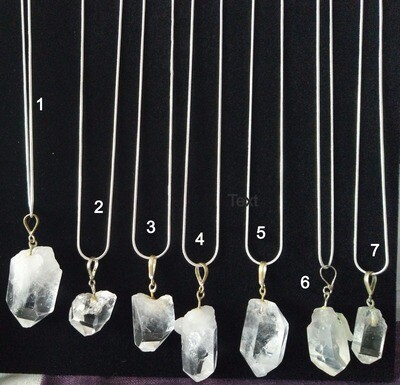 CLEAR QUARTZ PENDANTS LARGE  WITH STERLING SILVER CHAIN