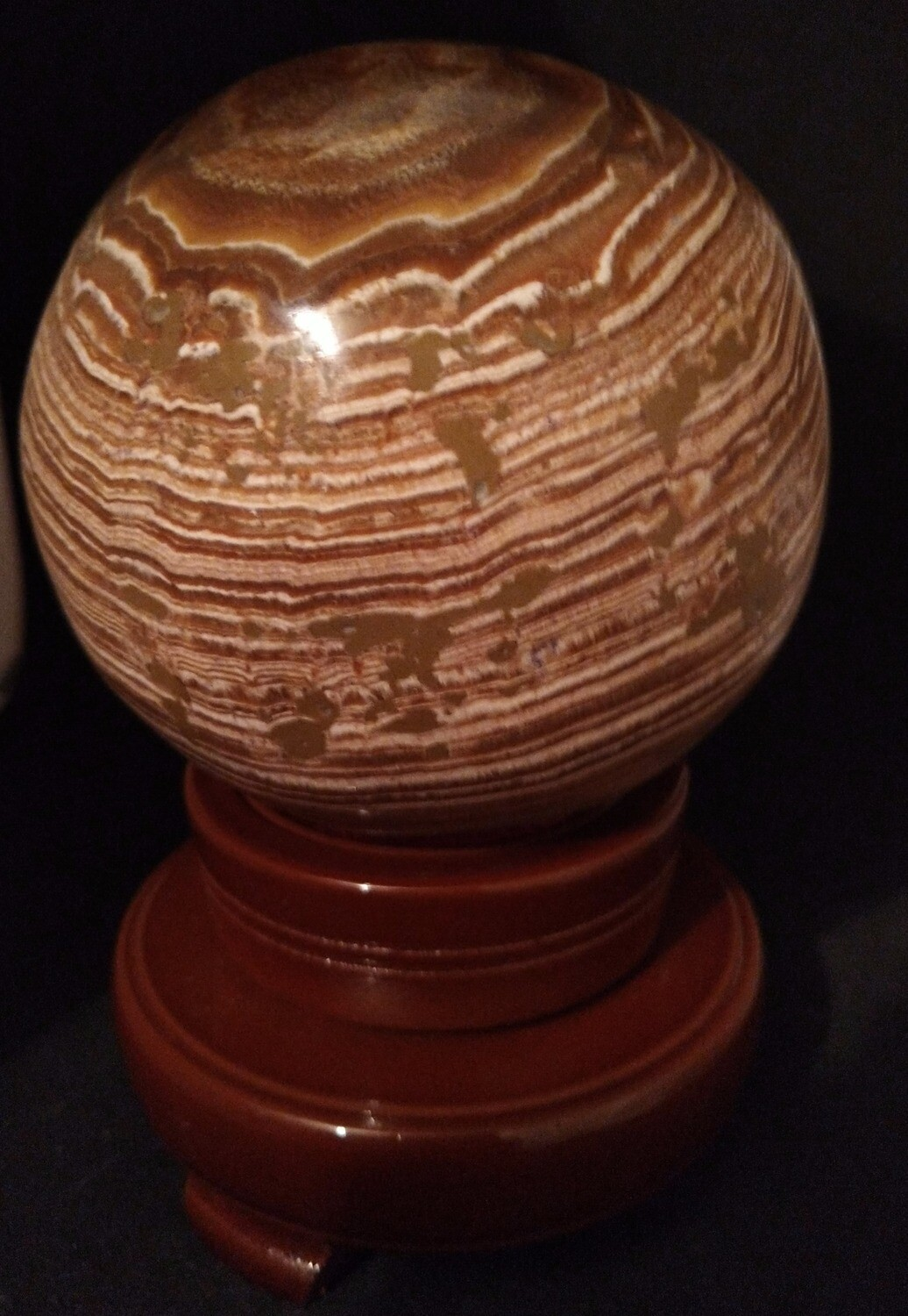 ARAGONITE SPHERE LARGE WITH WOODEN STAND
