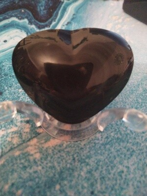RAINBOW OBSIDIAN LARGE HEART WITH STAND