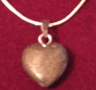 PYRITE HEART WITH STERLING SILVER CHAIN  WITH GIFT BOX