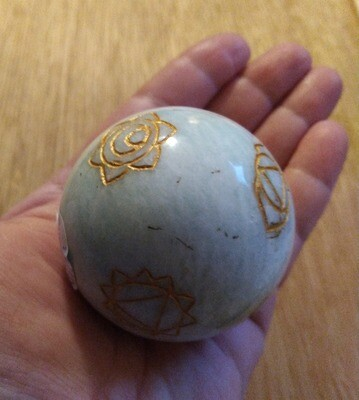 AMAZONITE WITH ENGRAVED CHAKRAS SPHERE