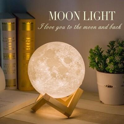 Luminária Lua Cheia 3d, touch, com diâmetro de 20cm, 16 Cores + Controle Remoto