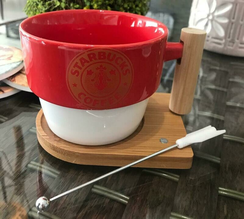 Jarro Starbucks Rojo - Cerámica & Madera + Removedor y Base