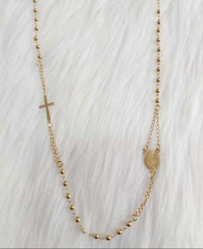 Cadena Cruz Medalla - Acero Quirúrgico
