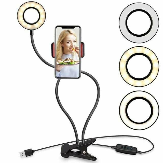 Aro de luz LED profesional con soporte para celular