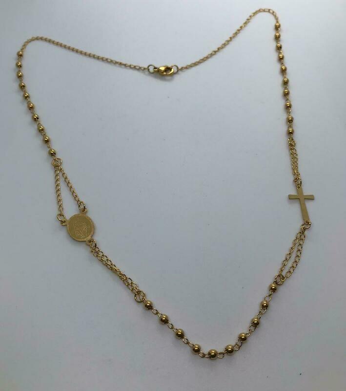 Collar de acero dorado - Cruz Virgen