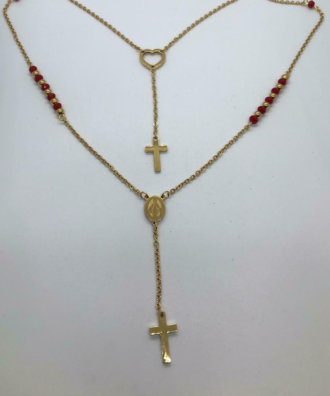 Collar de Acero  - Dorado -  Piedras Swarosky rojas sintéticas.