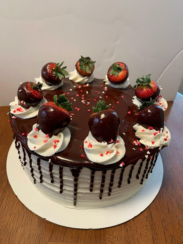 Choc Drip Strawberry Topped Cake