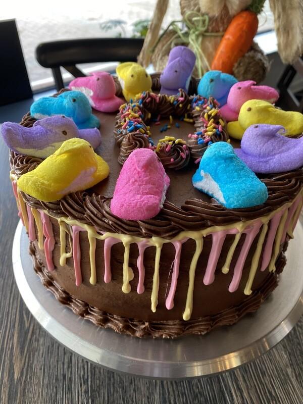 Peep Drip Layer Cake