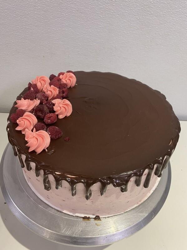 Raspberry Drip Layer Cake