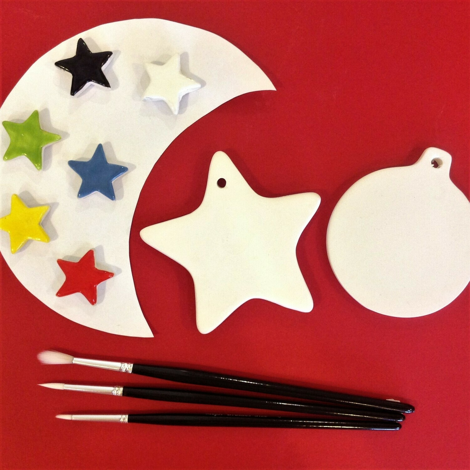 Star and flat bauble Christmas tree hangers