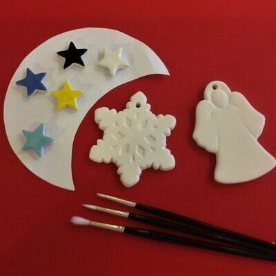 Snowflake and angel Christmas tree hangers
