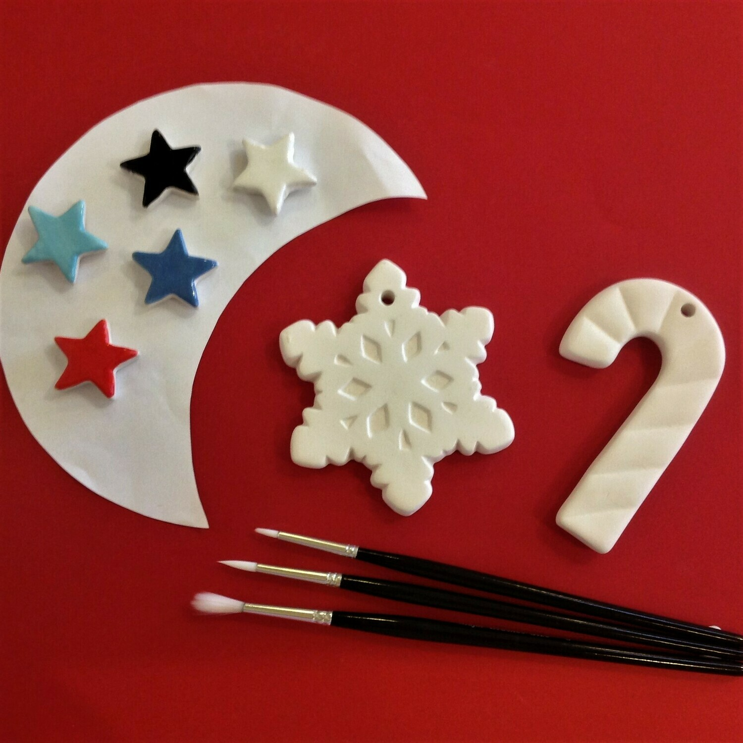 Snowflake and candy cane Christmas tree hangers