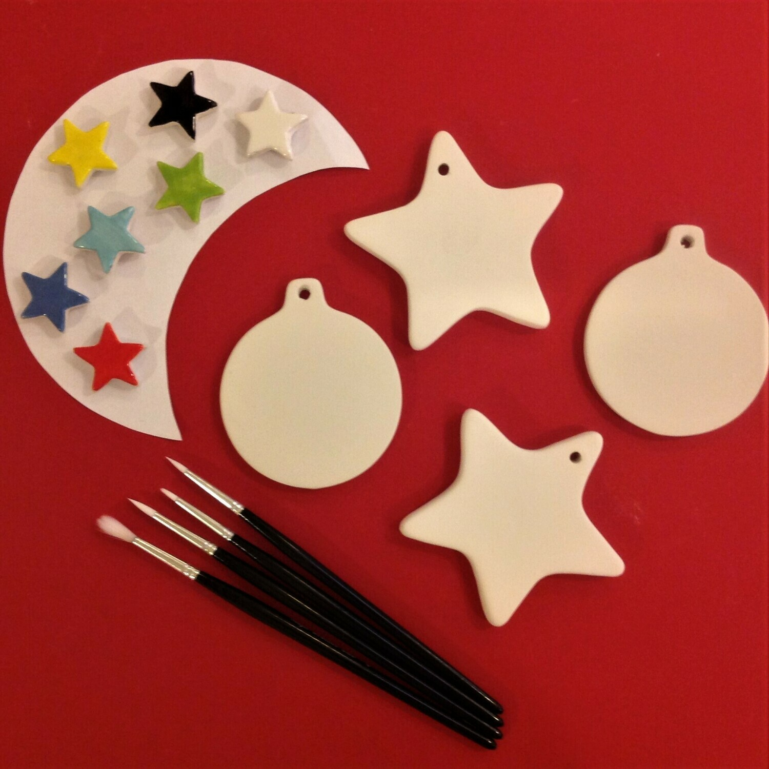 2 star and 2 flat bauble Christmas tree hangers