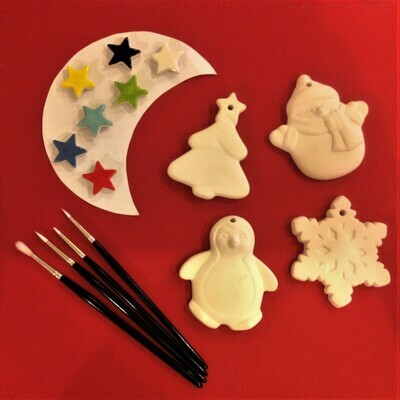 Penguin, Christmas tree, snowman and snowflake Christmas tree hangers