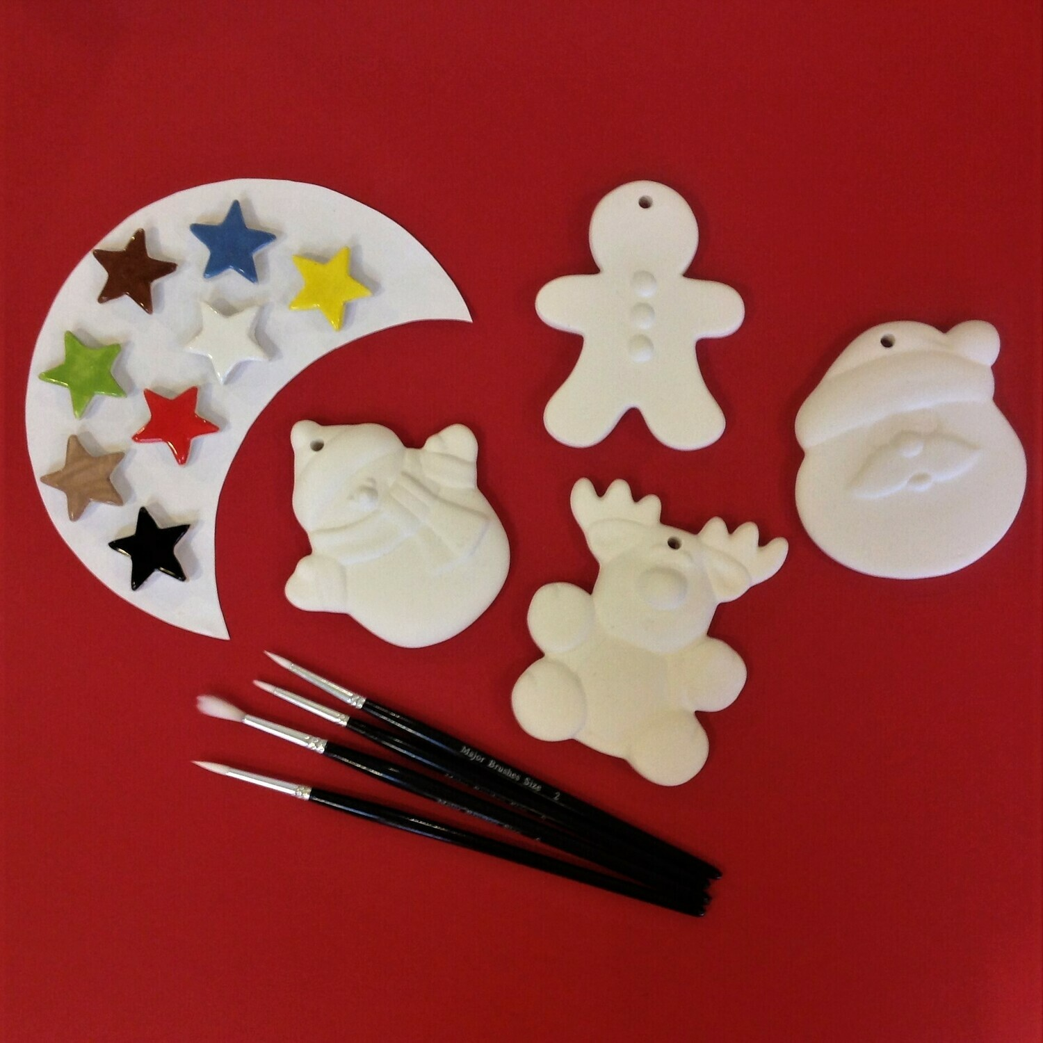 Father Christmas, Rudolph, gingerbread man and snowman tree hangers