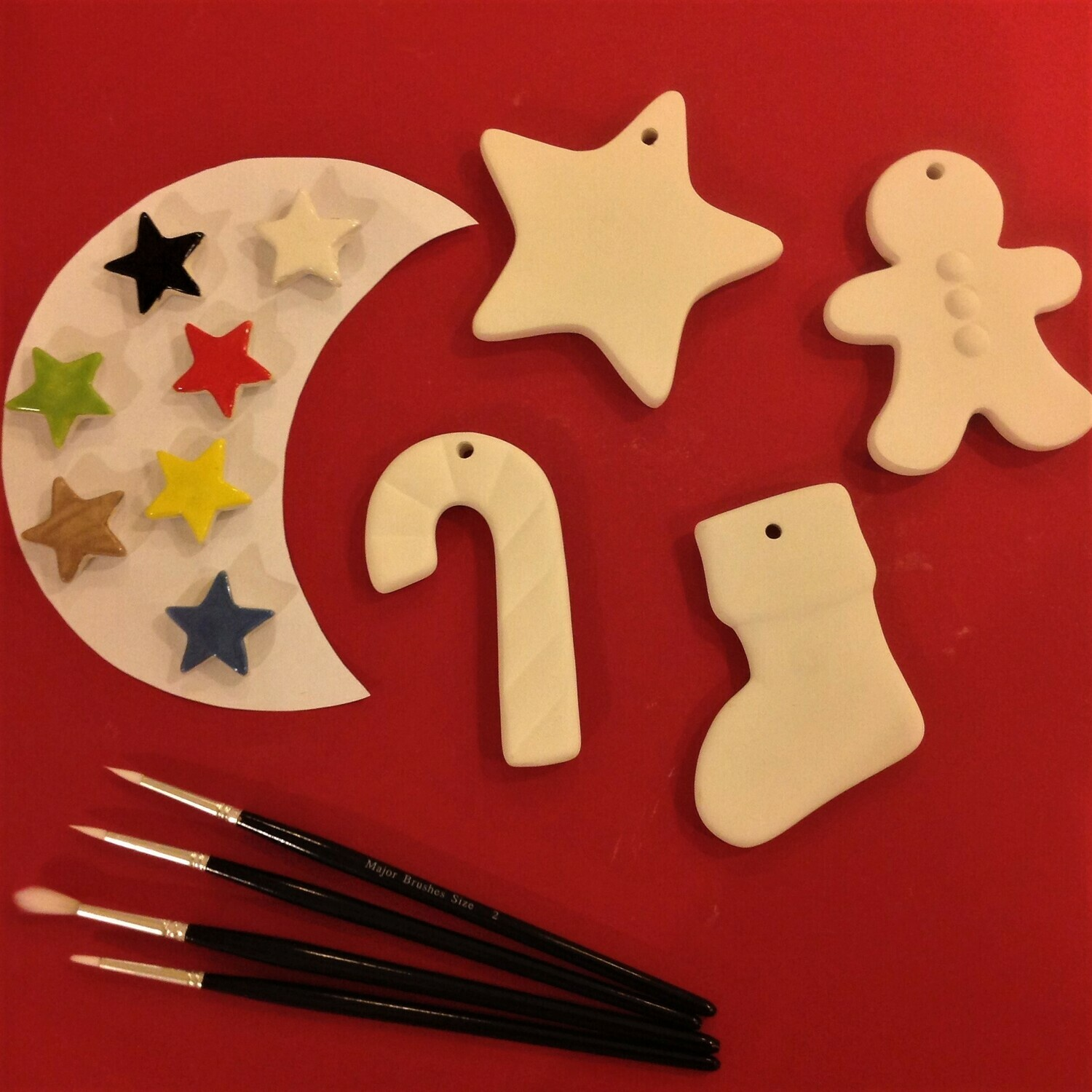 Gingerbread man, star, candy cane and stocking Christmas tree hangers