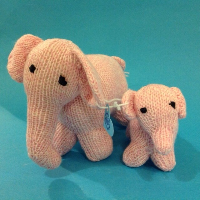 Elephant mum & baby, pink