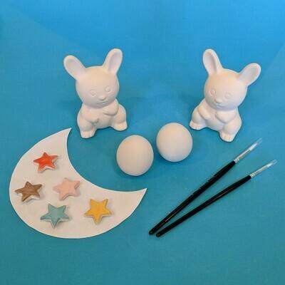 2 Nibbles rabbits, 2 mini eggs, glazes and brushes