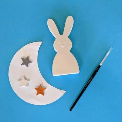 1 standing rabbit with glazes and brush