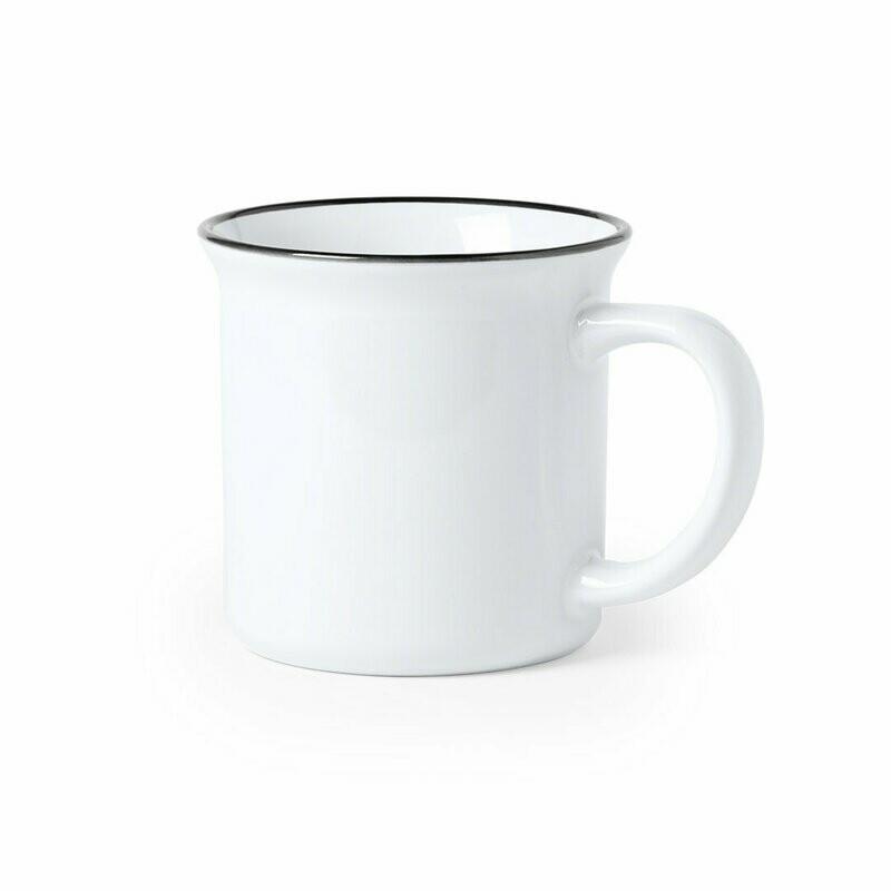 Taza blanca de cerámica con diseño vintage para sublimación