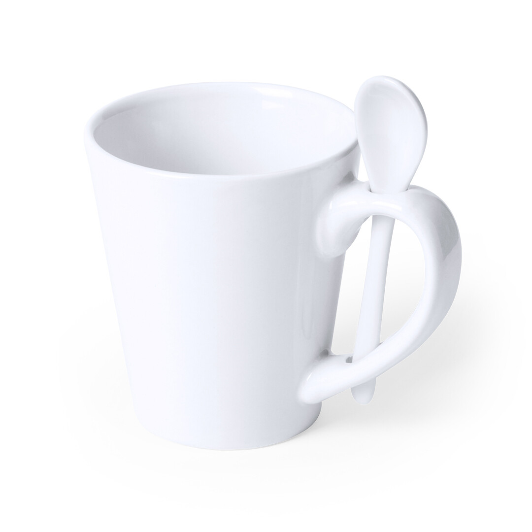 Taza blanca de cerámica 300 ml.