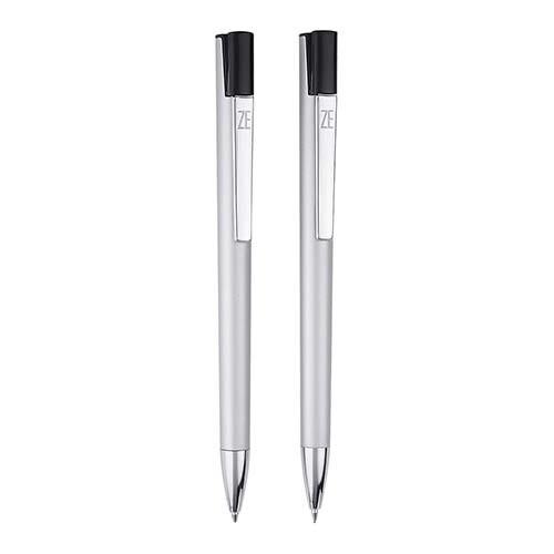 SET ARIZE PLATA (Bolígrafo y lapicera 0.5 mm. Mecanismo pulsador en clip. Incluye estuche)