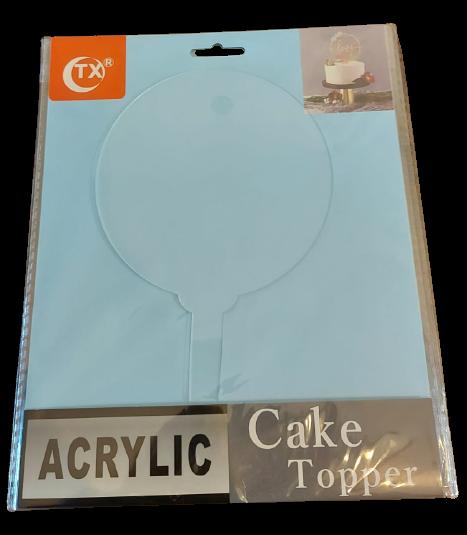 CAKE TOPPER DE ACRILICO DE 12x19.5cm CON BASE DE 7cm