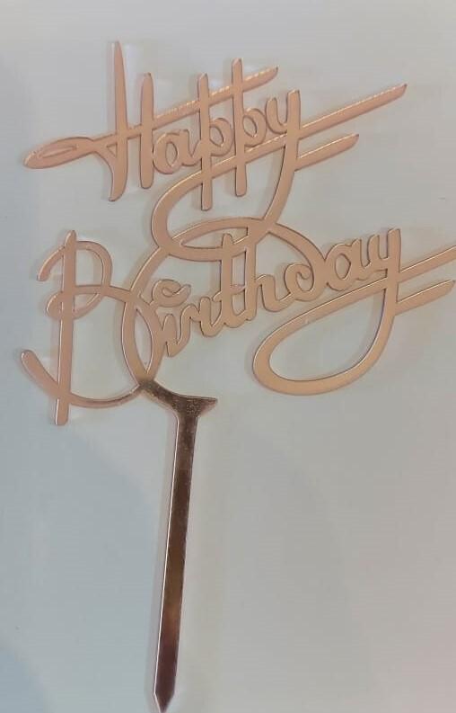 CAKE TOPPER HAPPY BIRTHDAY DE ACRILICO DE 13x13cm CON BASE DE 4cm