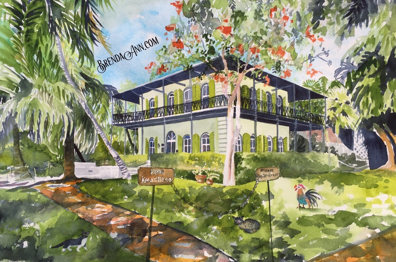 Ernest Hemingway Home & Museum in Key West, FL - Hand Signed Archival Watercolor Print