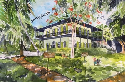 Hemingway House in Key West, FL - Hand Signed Archival Watercolor Print