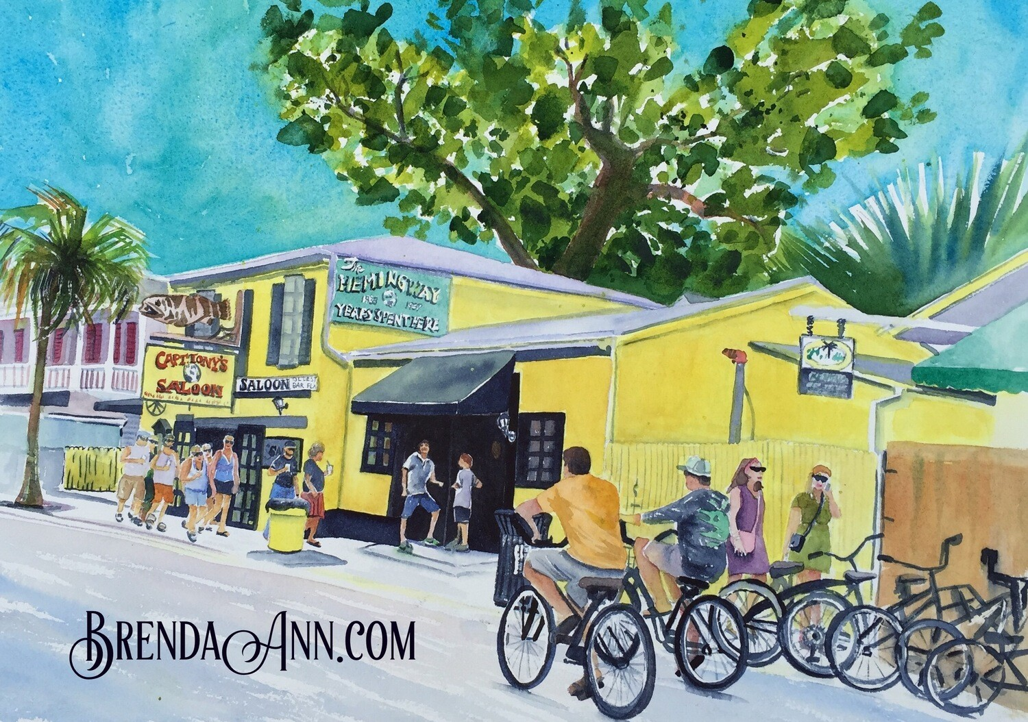 Captain Tony's Saloon in Key West, FL - Hand Signed Archival Watercolor Print