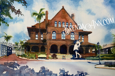 Custom House in Key West, FL - Hand Signed Archival Watercolor Print