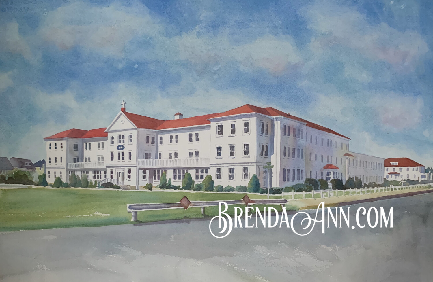 Villa Maria By the Sea in Stone Harbor, NJ - Hand Signed Archival Watercolor Print
