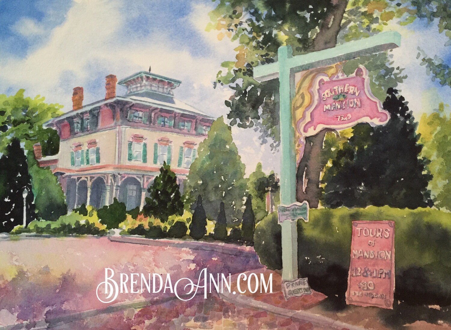 Southern Mansion in Cape May, NJ - Hand Signed Archival Watercolor Print