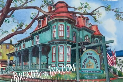 Queen Victoria Bed & Breakfast in Cape May, NJ - Hand Signed Archival Watercolor Print