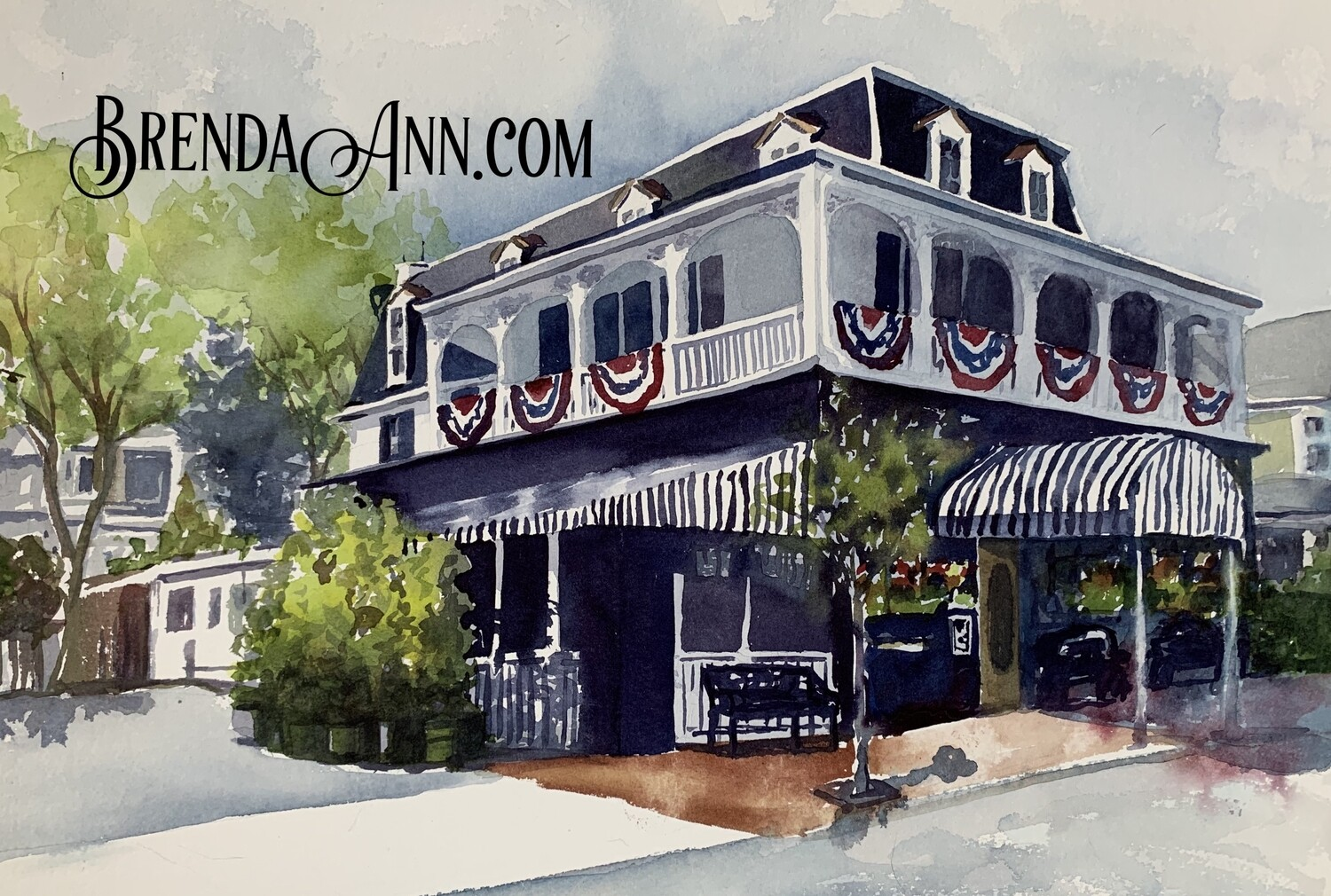 The Merion Inn in Cape May, NJ - Hand Signed Archival Watercolor Print
