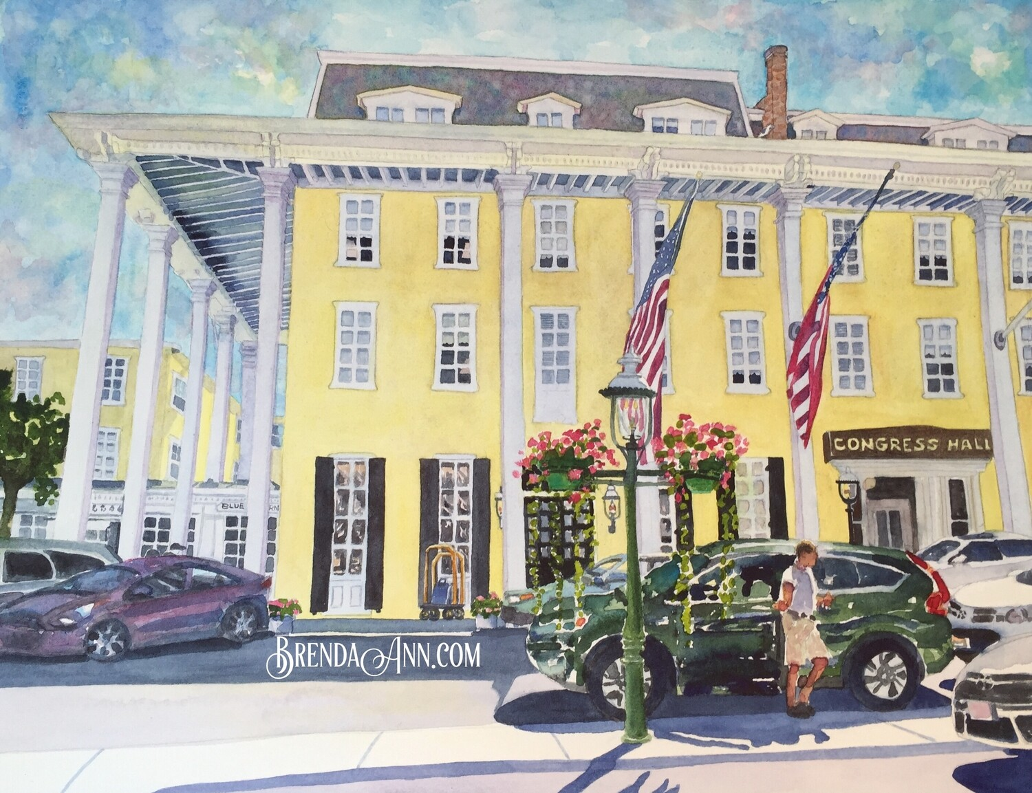 Congress Hall in Cape May, NJ - Hand Signed Archival Watercolor Print