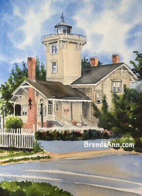 Hereford Inlet Lighthouse in North Wildwood, NJ - Hand Signed Archival Watercolor Print
