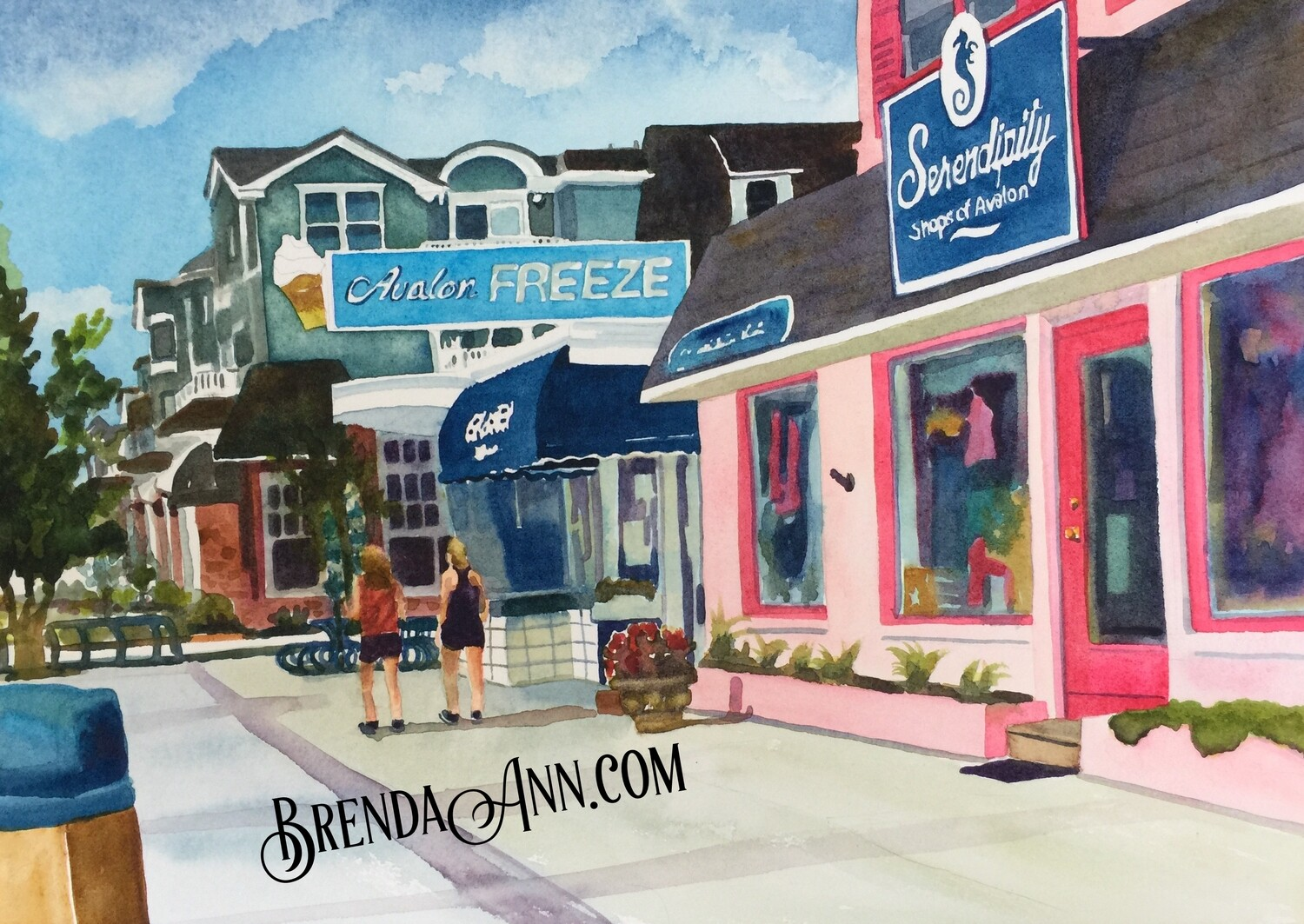 Avalon Freeze, Cafe Loren and Serendipity Shops in Avalon, NJ - Hand Signed Archival Watercolor Print